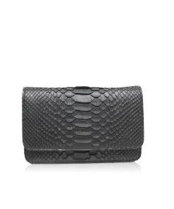 BARZAAR Black Python Leather Clutch Bag