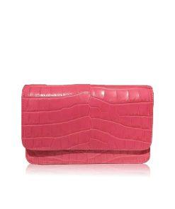 BARZAAR Matte Pink Crocodile Leather Clutch Bag