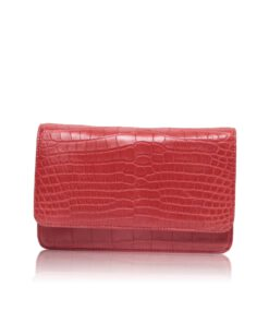BARZAAR Matte Red Crocodile Leather Clutch Bag