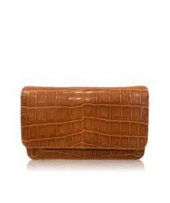 BARZAAR Shiny Tan Crocodile Leather Clutch Bag