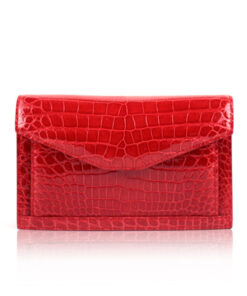 Shiny Red Crocodile Leather Sling Bag