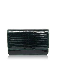 Barzaar Dark Green Shiny Crocodile Leather Clutch Bag