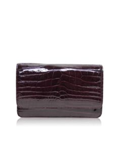 Barzaar Dark Purple Shiny Crocodile Clutch Bag