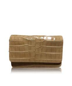 Barzaar Shiny Beige Crocodile Leather Clutch Bag