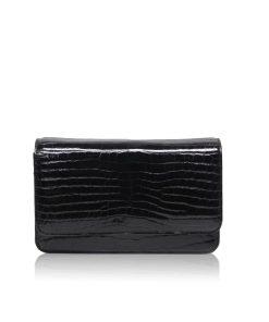 Barzaar Shiny Black Crocodile Leather Clutch Bag