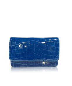 Barzaar Shiny Royal Blue Crocodile Leather Clutch Bag