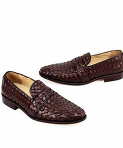 Brown Woven Leather Formal Shoes