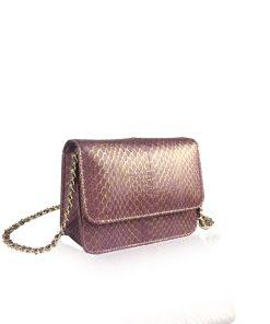 BARZAAR Metallic Purple Limited Cobra Leather Clutch Bag