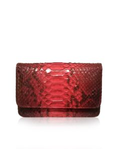 BARZAAR Red Python Skin Clutch Bag