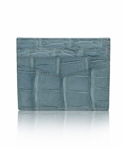 Crocodile Cardholder, Matte Blue Grey