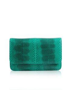 Barzaar Sea Snake Leather Clutch Bag, Green & Black