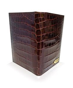 Crocodile Leather Passport Holder, Bordeaux