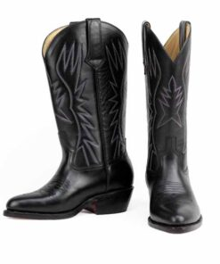 Calf Leather Cow Boy Boot , Black