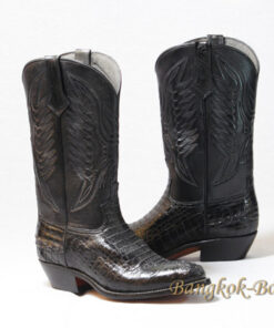 Crocodile Belly Leather Cowboy Boot , Black