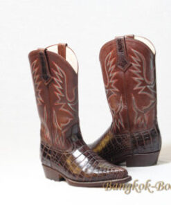 Crocodile Belly Leather Cowboy Boot , Dark Brown