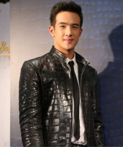 Crocodile Belly Leather Jacket , Black