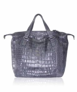 Crocodile Belly Leather Tote Bag , Grey