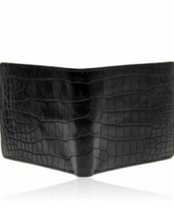 Crocodile Belly Leather Wallet , Black