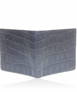 Crocodile Belly Leather Wallet , Blue Grey