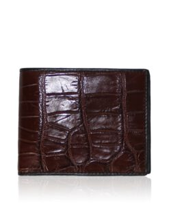 Crocodile Belly Leather Wallet , Dark Tan