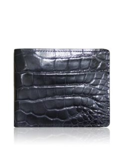 Crocodile Belly Leather Wallet , Matte Black