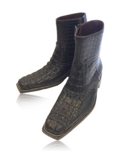 Crocodile Hornback & Belly Leather Cowboy Boot , Black