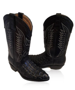 Crocodile Hornback Leather Cowboy Boot , Black