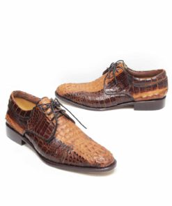 Crocodile Hornback Leather Formal Shoes , Two Tone