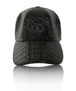 Crocodile Hornback Leather Hat , Black