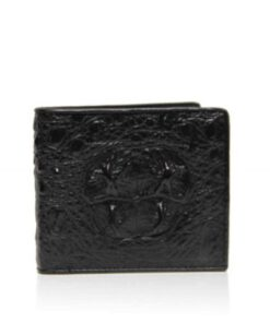 Crocodile Hornback Leather Wallet , Black