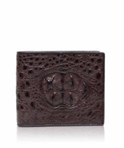 Crocodile Hornback Leather Wallet , Dark Brown