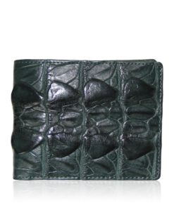 Crocodile Hornback Leather Wallet , Dark Green