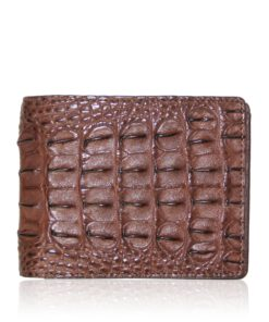 Crocodile Hornback Leather Wallet , Dark Tan