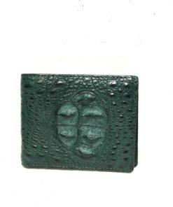 Crocodile Hornback Leather Wallet , Green