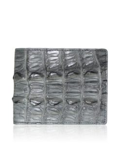 Crocodile Hornback Leather Wallet , Light Grey