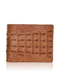 Crocodile Hornback Leather Wallet , Light Tan
