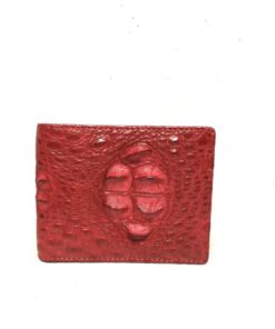 Crocodile Hornback Leather Wallet , Red