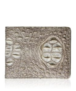 Crocodile Hornback Leather Wallet , White Himalayan