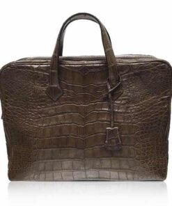Crocodile Belly Leather Document Bag , Brown