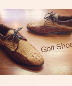 Crocodile Leather Golf Shoes , Two Tone