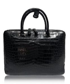 Crocodile Leather Laptop Bag , Black
