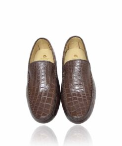 Crocodile Leather Moccasin , Brown