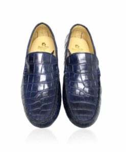 Crocodile Leather Moccasin , Navy Blue