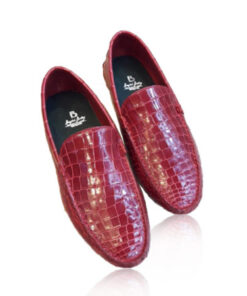Crocodile Leather Moccasin , Shiny Red
