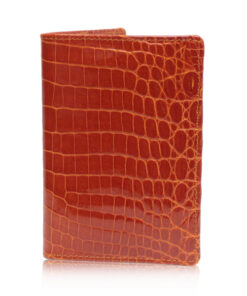 Crocodile Leather Passport Holder, Shiny Sunrise