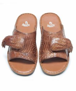 Crocodile Leather Sandal , Tan