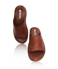 Crocodile Leather Slide Sandal , Brown
