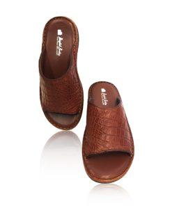 Crocodile Leather Slide Sandal Brown
