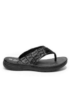 Crocodile Leather Thong Sandal , Black