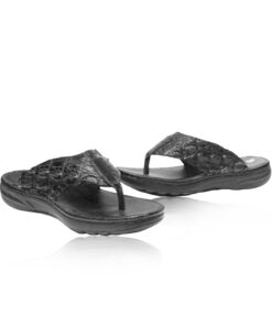 Crocodile Leather Thong Sandal , Black